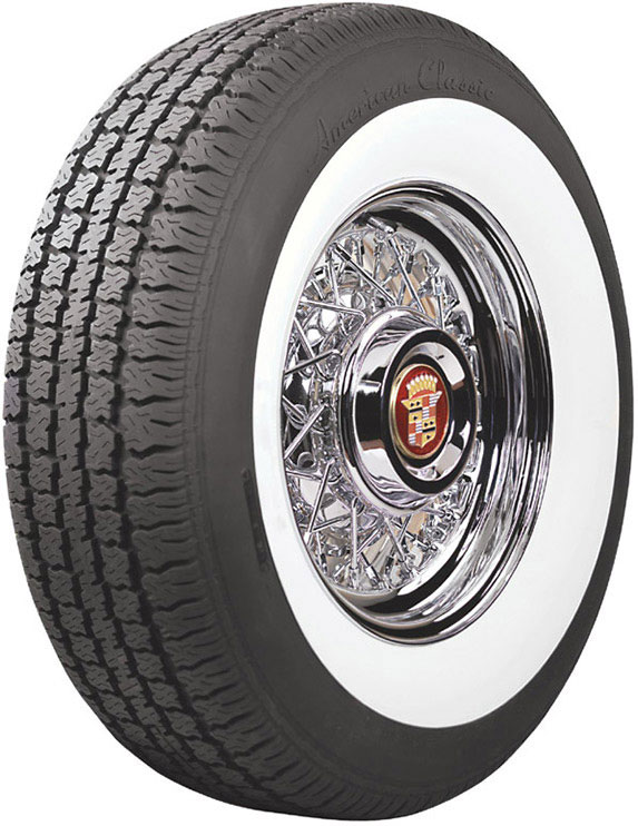 Cadillac wire Wheel with American Clasic white wall tire.