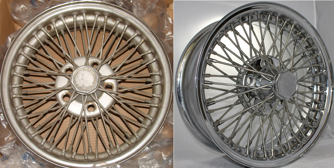 e6d3ec98b2d76 Left  Before photo of rare Dunlop Avanti Wire Wheel. Right  After  comprehensive restoration with stainless steel spokes and nipples.