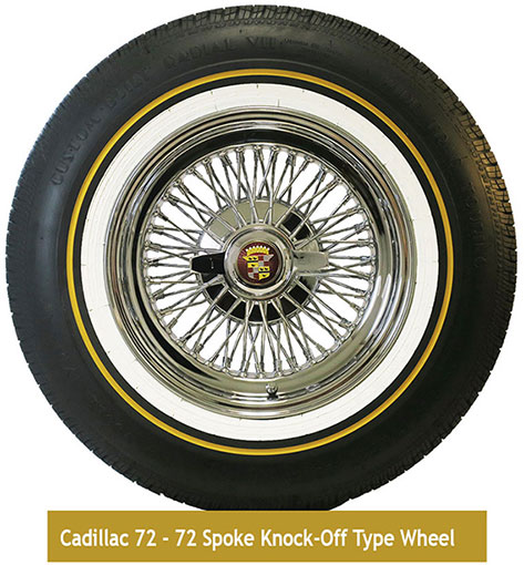 72 Spoke Cadillac Knock-off wire wheel with Vogue tire.